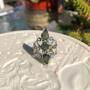 Moldavite Sterling Silver Ring Sz 8.5